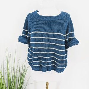 Fossil crop knitted sweater roll sleeve